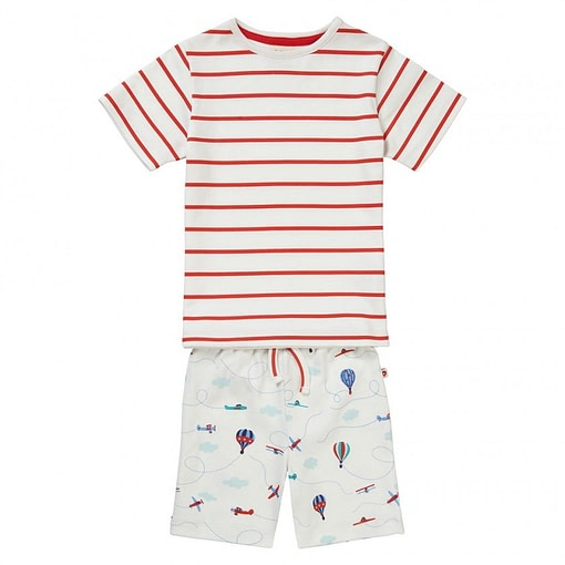Fly the Sky stripe summer pyjamas by Piccalilly in organic cotton 1
