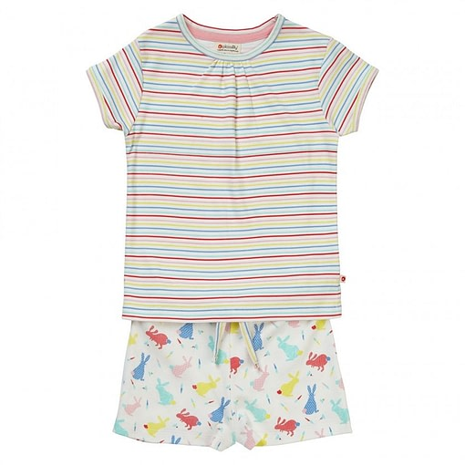 Hopping Bunnies stripe summer pyjamas by Piccalilly in organic cotton 1