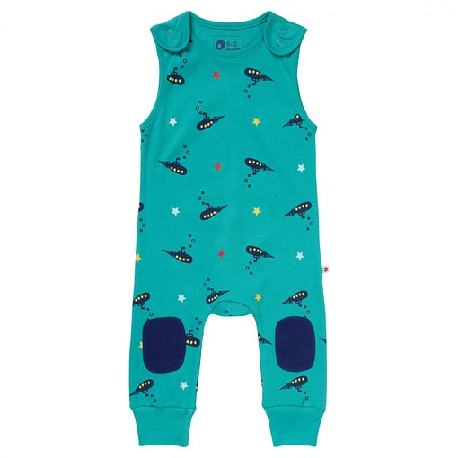 Submarine dungarees by Piccalilly in organic cotton (Age 2-3) 1