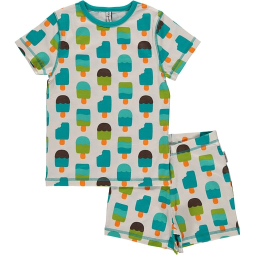 Maxomorra organic short sleeve pyjamas in ice cream print 1