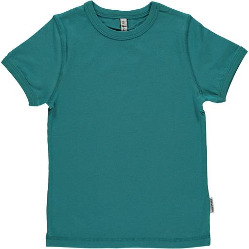 Plain soft petrol organic short sleeve t-shirt by Maxomorra 1