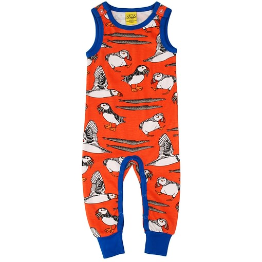 DUNS Sweden puffins 'watermelon red' organic long dungarees (86cm 12-18m) 1