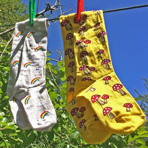 Slugs and Snails Storm unisex rainbow and cloud knee high socks 3