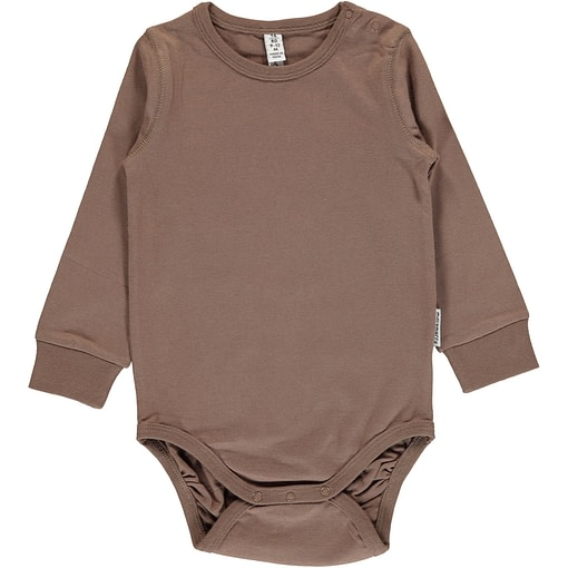 Hazel brown plain long sleeve organic baby vest by Maxomorra (74-80cm 9-12m) 1