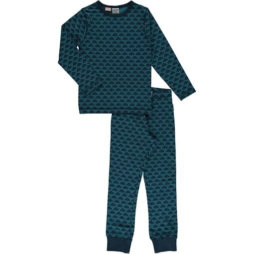 Maxomorra organic cotton pyjamas in blue mono cloud design (86-92cm 18-24m) 1