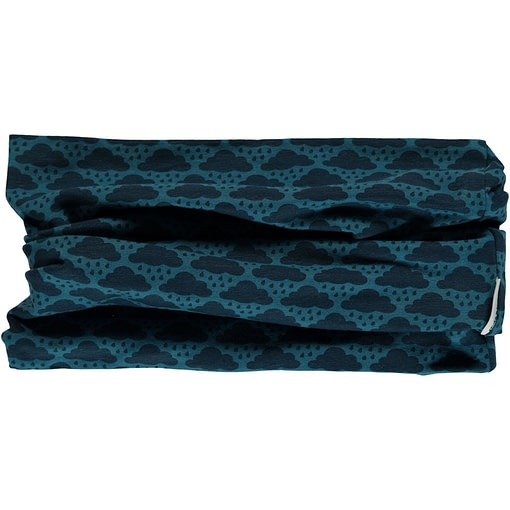 Maxomorra mono blue cloud organic cotton tube scarf 1