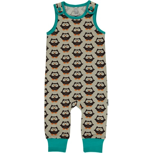 Owls print on brown organic cotton dungarees by Maxomorra (74-80cm 9-12m) 1