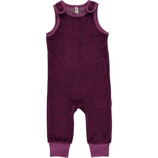 Purple dungarees by Maxomorra in organic blend velour (86/92 18-24m) 1