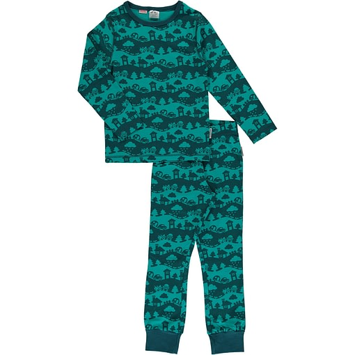 Maxomorra organic cotton pyjamas in turquoise landscape design 1
