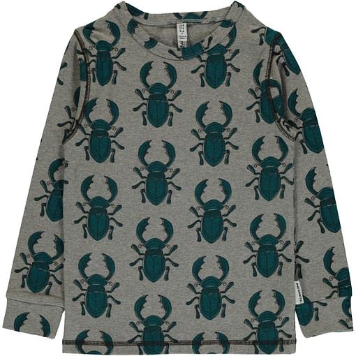 Stag beetle print organic long sleeve top - Maxomorra (98/104cm 3-4) 1