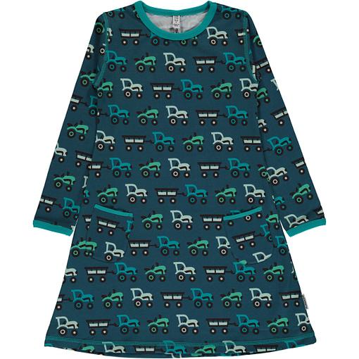 Tractor print organic cotton long sleeve dress from Maxomorra (110/116 5-6) 1