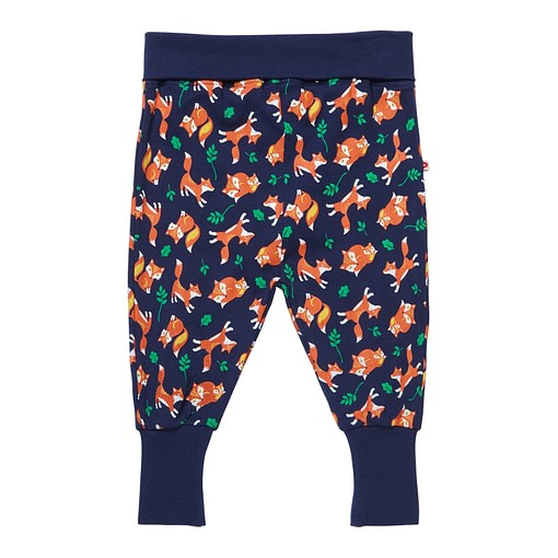 Fox print pull up trousers by Piccalilly in organic cotton 1