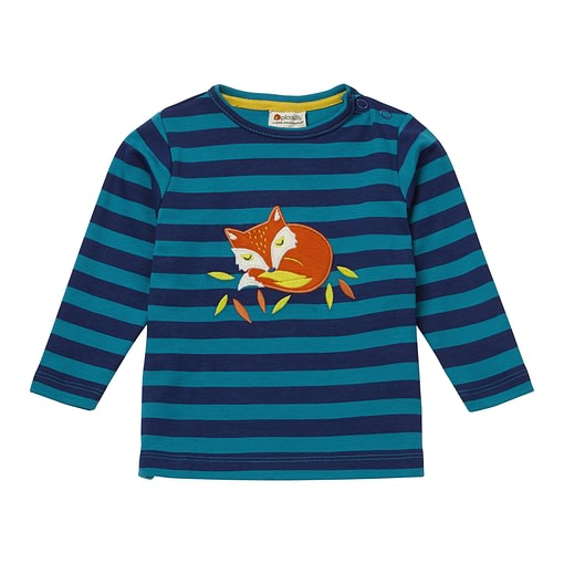 Fox print stripy top by Piccalilly on organic cotton (92cm 18-24m) 1