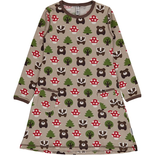 Forest animals organic cotton long sleeve dress from Maxomorra (98-104 3-4Y) 1