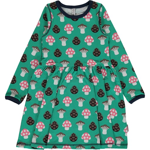 Mushroom organic cotton long sleeve spin dress ~ Maxomorra (18/24m 86/92) 1