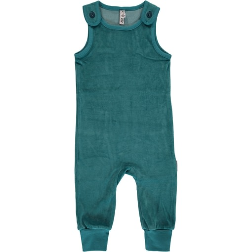 Soft Petrol blue dungarees by Maxomorra in organic blend velour 86/92 1