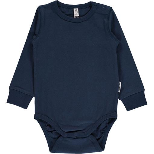 Dark blue plain long sleeve organic baby vest by Maxomorra (74/80cm 9-12m) 1