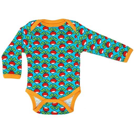 DUNS Sweden turquoise radish organic cotton long sleeve vest 1