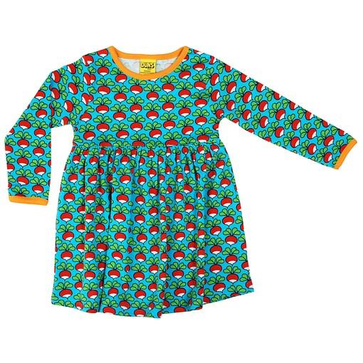 DUNS Sweden radish print on turquoise organic cotton twirly dress 1