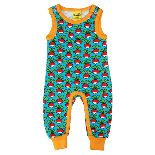 DUNS Sweden radish print on turquoise organic dungarees (68cm 4-6 months) 1