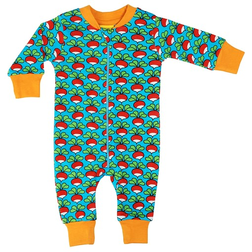 DUNS Sweden radishes print on turquoise organic cotton zipped onesie 1