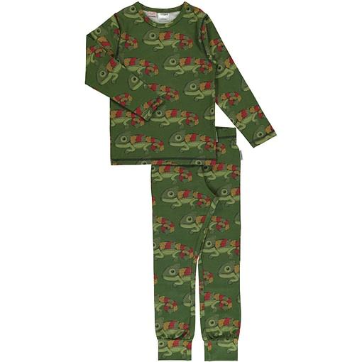 Maxomorra organic cotton pyjamas in chameleon print 1