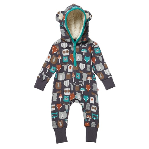 Forest friends hooded playsuit by Piccalilly in organic cotton (92cm 18-24m) 1