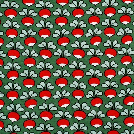 DUNS Sweden radishes on dark green organic cotton zipped sleepsuit (104cm Age 3-4) 3