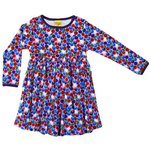 DUNS Sweden blueberry print on purple organic cotton twirly dress 1