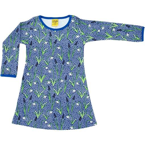 DUNS Sweden snowdrops on blue organic a-line dress (98cm 2-3Y) 1