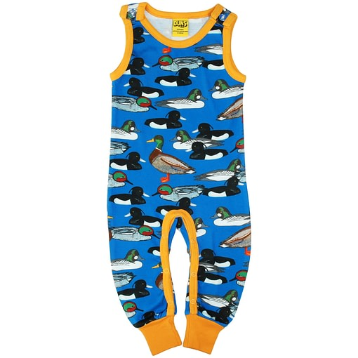 DUNS Sweden duck pond on blue organic cotton dungarees 1