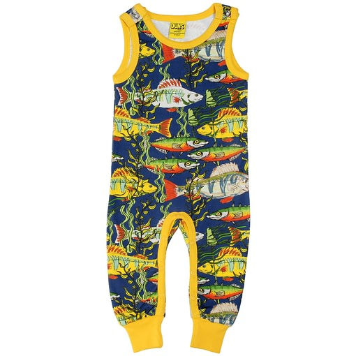 DUNS Sweden sea weed on navy organic cotton dungarees (86cm 12-18m) 1
