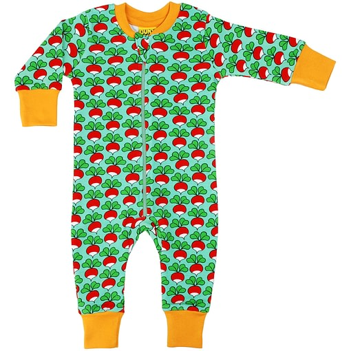 DUNS Sweden radishes on spring mint green organic cotton zipped onesie 1