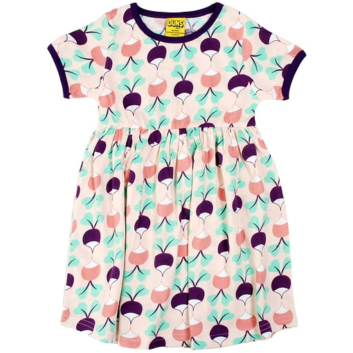 DUNS Sweden big radish purple cotton short sleeve twirly dress (98cm 2-3) 1