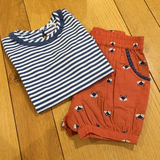 Navy mini stripe long sleeve t-shirt in organic cotton by Kite (92cm 18-24m) 2