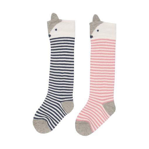 Little fox knee length socks in organic cotton by Kite - 2 pack blue | pink 1
