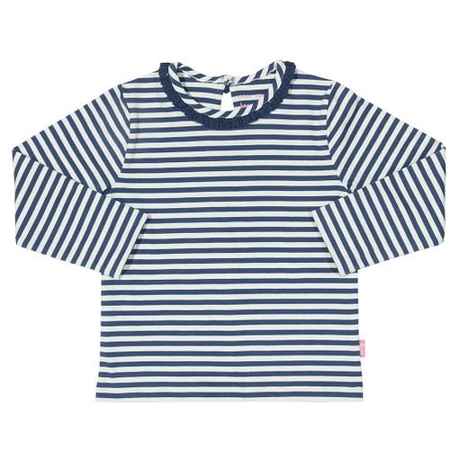 Navy mini stripe long sleeve t-shirt in organic cotton by Kite (92cm 18-24m) 1