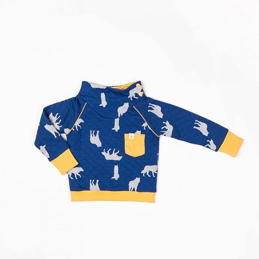 Hollum sweat in solidate blue with wolves by Alba of Denmark 1