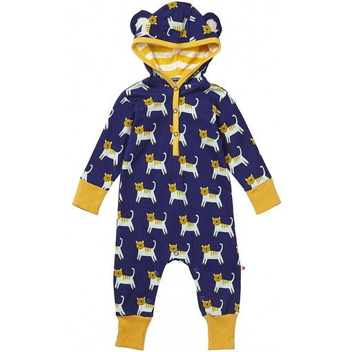 Hello Tiger hooded playsuit by Piccalilly in organic cotton 1
