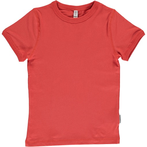 Plain rusty red organic short sleeve t-shirt by Maxomorra (134-140cm Age 8-10) 1