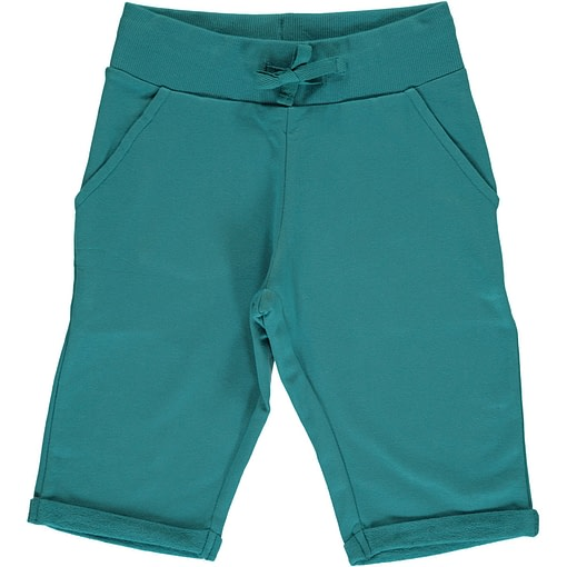 Maxomorra soft petrol blue knee length organic shorts ~ Maxomorra Basics (110/116 Age 4-6) 1