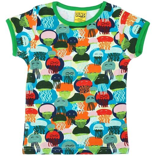 DUNS Sweden jellyfish print on green organic cotton t-shirt 1