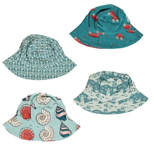 Maxomorra seaside print organic sun hat | Crab | Sail boat | Ocean Landscape 48-50 with ties 1