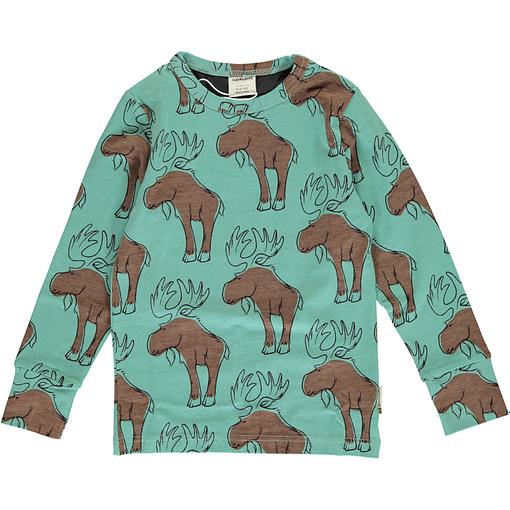 Mighty moose print organic long sleeve top - Maxomorra 1