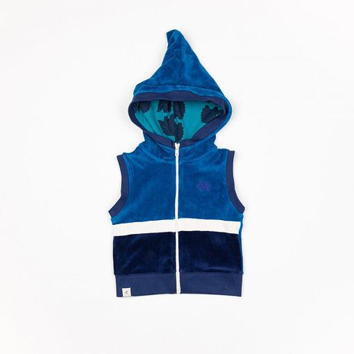 Tronjan waistcoat in Mykonos blue velour | Alba of Denmark (86cm 12-18m) 1