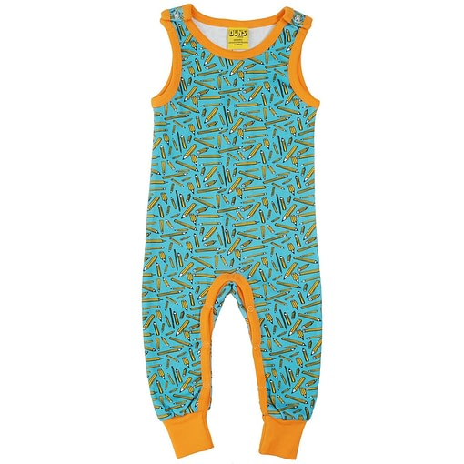 DUNS Sweden pencils print on turquoise organic cotton dungarees 1