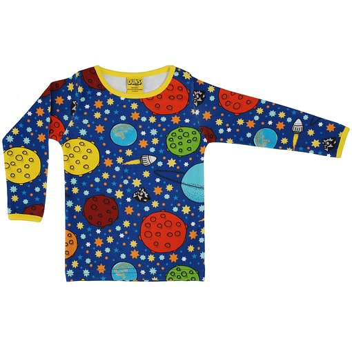 DUNS Sweden Lost in Space navy organic cotton long sleeved top 1