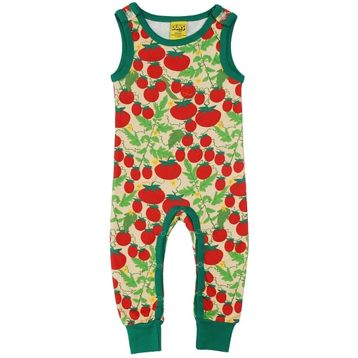 DUNS Sweden tomatoes print on pale yellow organic cotton dungarees 1