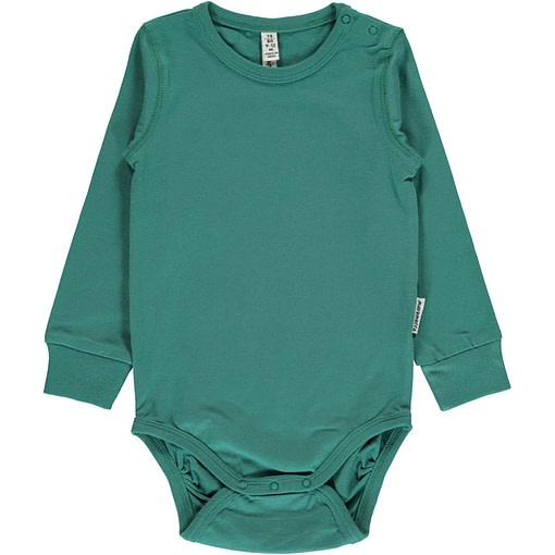 Green petrol solid colour long sleeve organic baby vest by Maxomorra (86/92 18-24m) 1