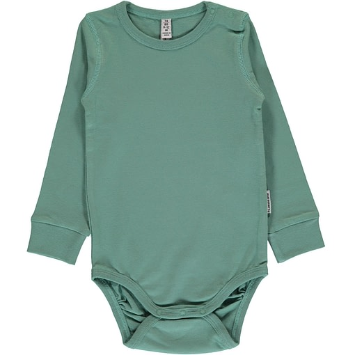 Pale army green solid colour long sleeve organic baby vest by Maxomorra 1